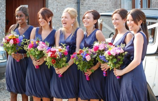 Blue Dresses Wedding Bridesmaid Autumn