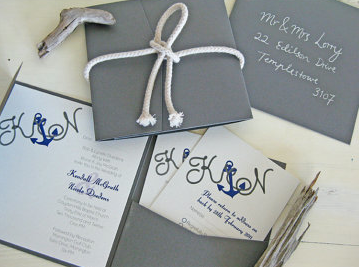 Wedding invites blue anchors boating