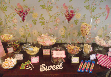 wedding sweets bar mixed sweets pink