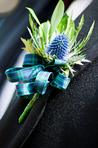 Scottish Wedding Flowers Boutonniere Thistle
