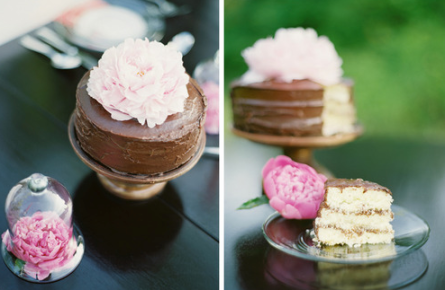 Brown and Pink Wedding Cake
