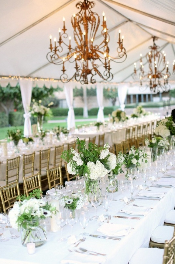 All White Marquee Interior with Long Tables // Pinterest