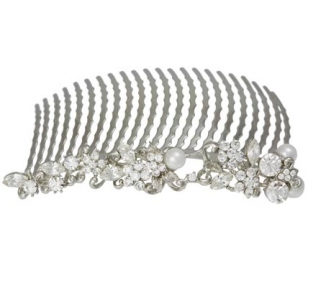 Bridal Haircomb Bridesmaids Pearls Silver
