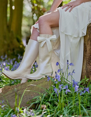 Bridal Wellies Boots Nude Bows