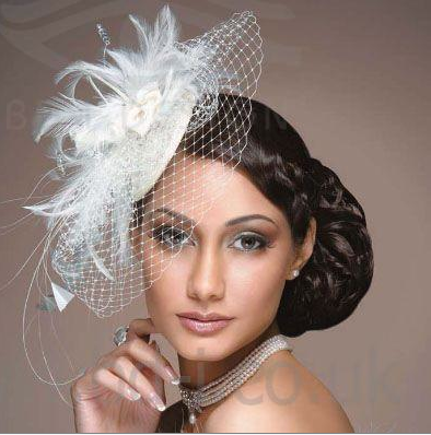 Inspiration Fascinators Bridal Feather White Flower