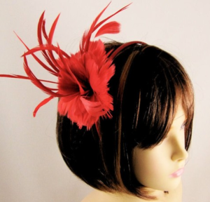 Inspiration Wedding Guest Fascinator Red Feather