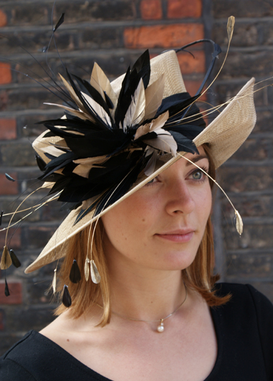 Wedding Guest Attire Hat Feathers Beautiful Neutral