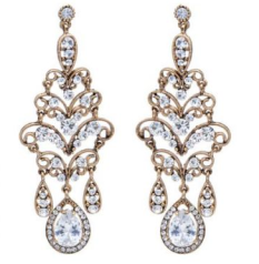 Bridal jewellery gold earrings crystal