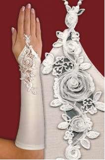 Wedding Glove Gauntlet Fingerless Lace White