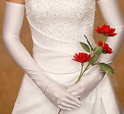 Bridal Gloves Full Length Satin White
