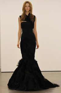 Vera Wang Fishtail Dress Black