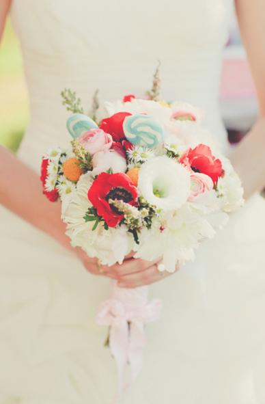 Unusual Wedding Flowers Festival Outdoors Lolipops Poppies
