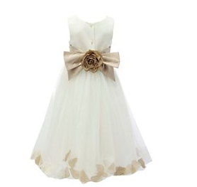Wedding Young Bridesmaid Gold Dress Cream