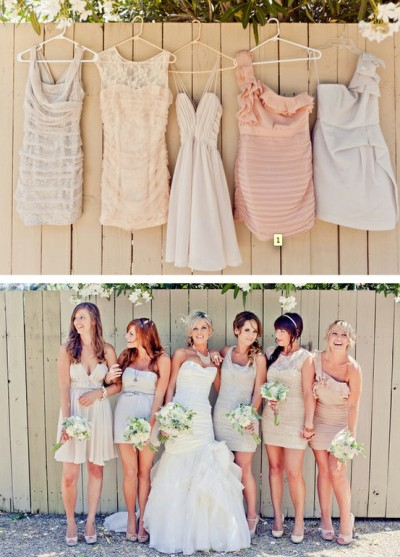 Bridesmaid inspiration dresses nudes retro bohemian