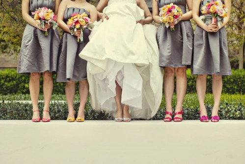 bridesmaid dress idea non matching shoes