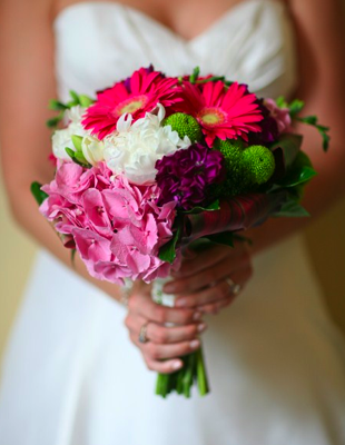 Wedding Flowers Pink Whites Greens Gerbaras