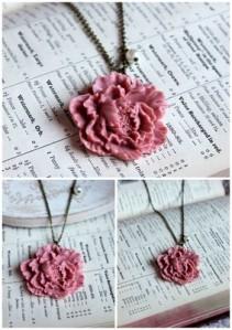 Wedding jewellery unusual floral vintage silver pink