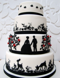 Non traditional Wedding Cake Black White