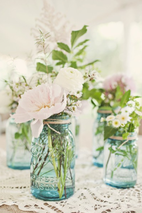Wedding Decor Flowers Jars Vintage Choose vintage blue Mason Jars and fill