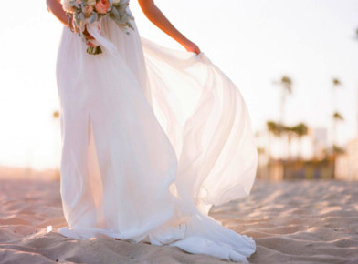 Bridal Gown Beach Floating