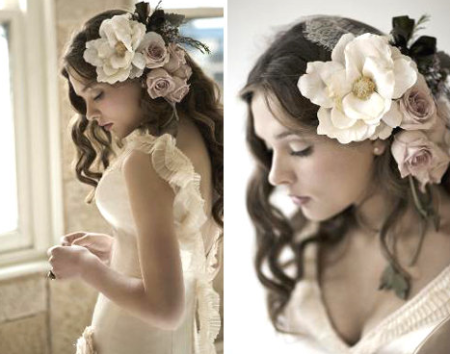 Bridal Hair Flower White Pink