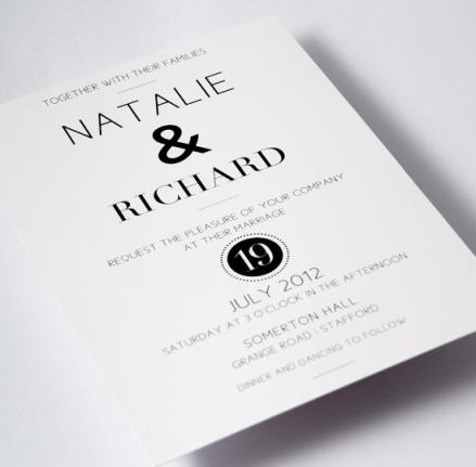Black White Modern Wedding Invite Designs