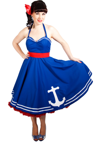 50s style bridesmaid dress nautical sailor