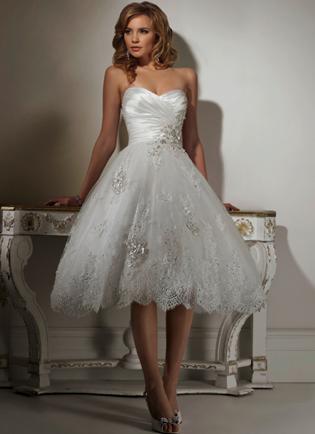 Bridal Gown Short Tea Length White Diamante