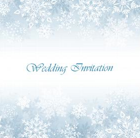 Wedding Invites Snowflakes Blue Wintery