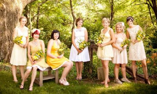 Wedding Ideas Shorter Dress Bride Bridesmaids