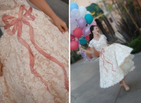 Bridal Gown Tea Length White Lace