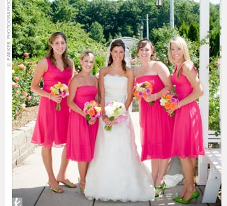 Hot Pink Bridesmaid Dress Non Matching