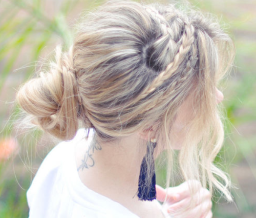 Wedding Hair Bride Bun Plaits Loose