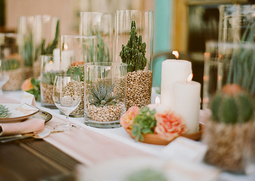Wedding Table Settings Plants Candles