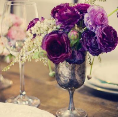 Wedding Table Setting Ideas Purple Silver