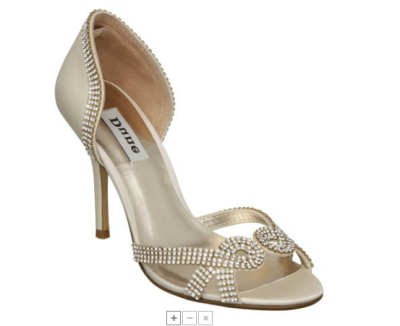 Bride Shoes Silver Bling Sparkle Mid Heel