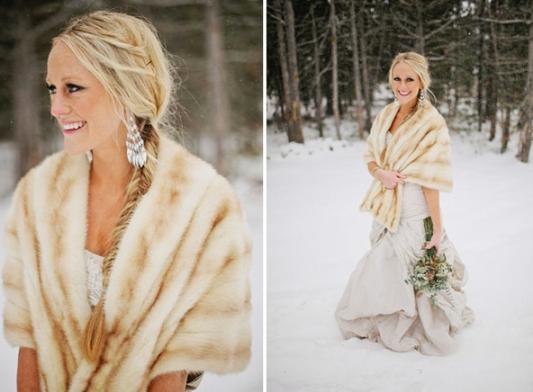 Winter Wedding Bridal Accessories Furry Scarf