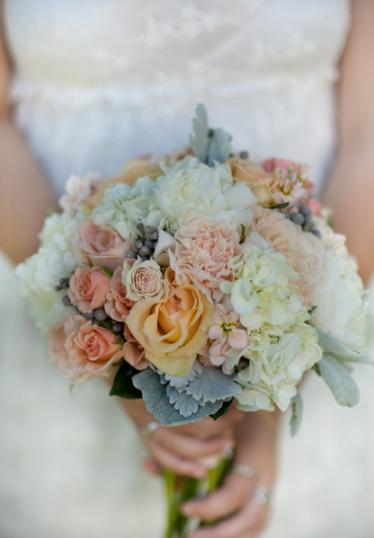 Bridal Bouquet Coral Grey Palette