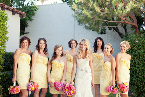 Country bridesmaid dresses yellow pink brown