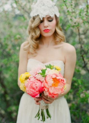 Wedding Peonies Bridal Bouquet Yellow PInk
