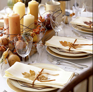 Fall Wedding Table Decor Leaves Candles