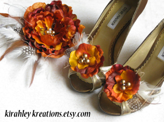 Fall Wedding Orange Accessories Shoe Clips